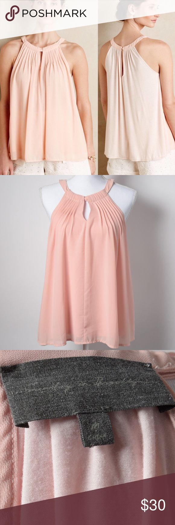 "Anthropologie Sunday in Brooklyn Pleated Pink Top Sunday in Brooklyn by Anthropologie tank top in a blush pink/peach color, perfect for spring and summer. The front is a flowy chiffon polyester with pleated details, and the back is cotton with a keyhole button closure. Size: M  Measurements (approximate) Armpit to armpit: 20"" Length: 27"" Anthropologie Tops Tank Tops"