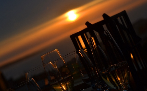 Champagne and a sunset   Hotel Tylosand, Sweden
