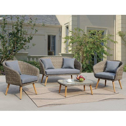 Elegant Found it at Wayfair Lilah 4 Piece Gray Deep Seating Group with Cushion Amazing - Modern cushion coffee table Minimalist