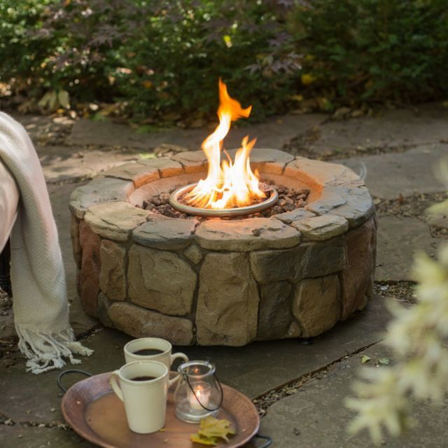 Stone Fire Pit W/ Cover Round Portable Outdoor Gas Propane Campfire Decks Patio | eBay
