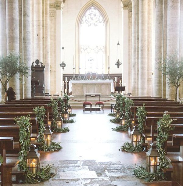 tuscany church decorated with olive branches - brides of adelaide More