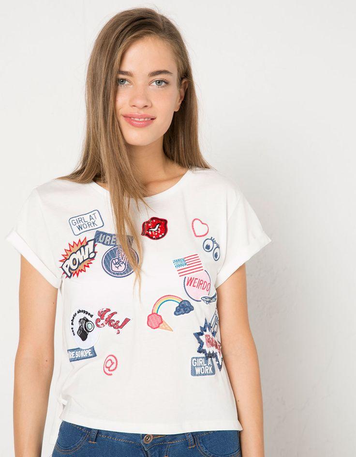 Camiseta BSK con parches - Camisetas - Bershka España
