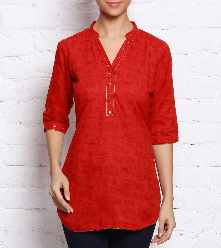 Red Printed Cotton Top #indianroots #fusionwear #top #cotton #printed #summerwear #casualwear