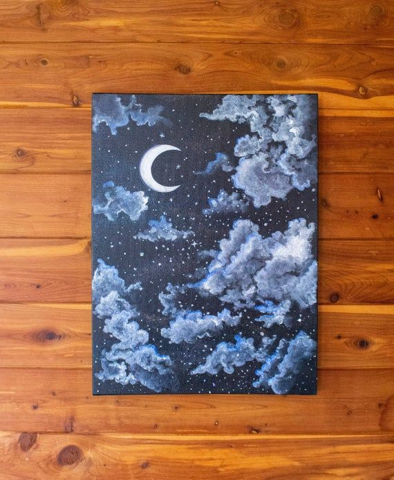 Serene Night Sky Starry And Cloudy Moon Painting Acrylic Etsy Moon Painting Night Sky Painting Scenic Wall Art