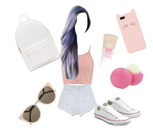 """""""back to school outfit..!!"""" by neha-barangali on Polyvore featuring Boohoo, PB 0110, Converse, Fendi, Zara, Maybelline, Kate Spade and Eos"""