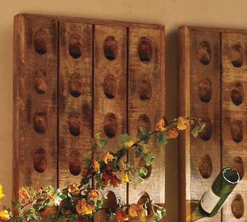 wine bottle riddling rackWine Racks, Crafts Ideas, Bottle Riddle, Riddle Racks, Wine Bar, Wine Bottles, French Wine Bottle Racks, Pottery Barns, Old Barns