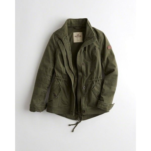 Hollister Twill Shirt Jacket ($60) ❤ liked on Polyvore featuring outerwear, jackets, olive, green military jackets, pocket jacket, zip jacket, olive green jackets and logo jackets