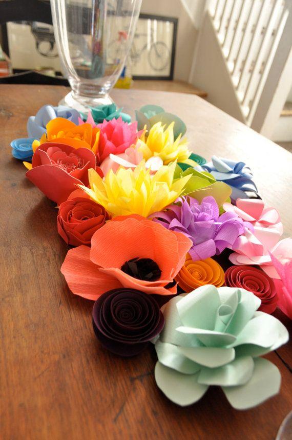 Paper Flowers Wedding Centerpiece Table Decor Colorful