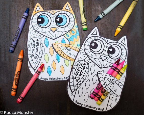Items Similar To Owl Coloring Page Valentine With Crayon Holder Cute Unique Woodland Printable DIY Valentines Crayons Cards Classroom Activity On Etsy
