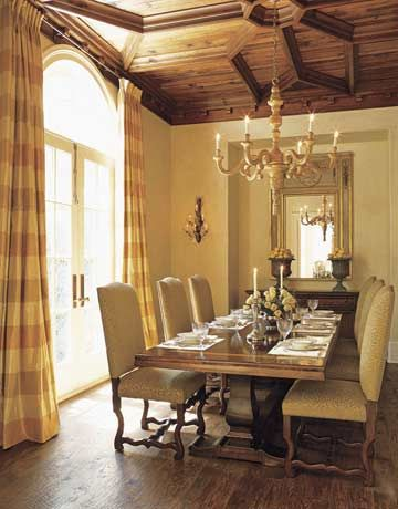 Like the ceilingDining Rooms, Home Interiors, Room Decor Ideas, Diningroom, Ceilings, Dining Room Decor, Trestle Tables, Formal Dining Room, Dining Tables