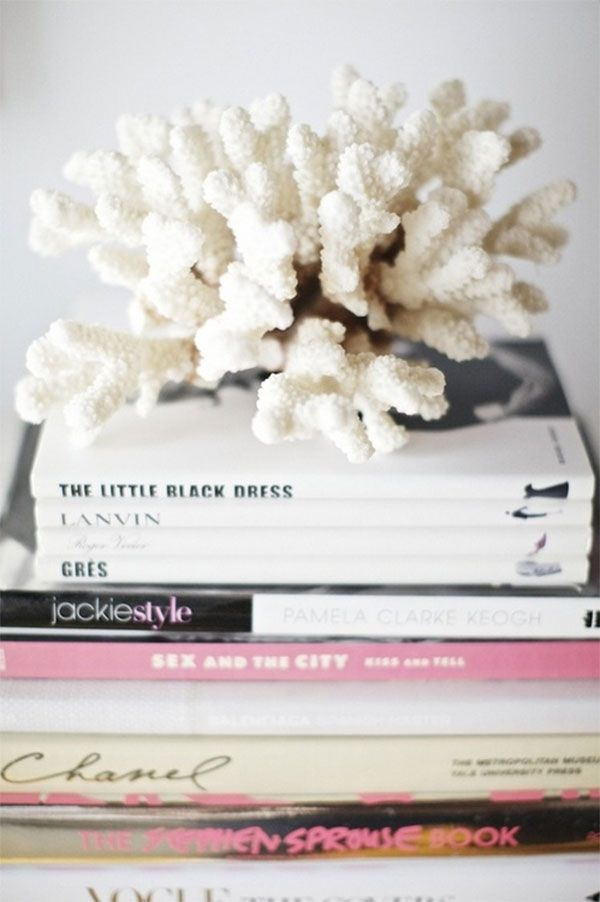 CoralDecor, Coral, Living Room, Stacked Book, Coffe Tables Book, House, Design, Fashion Book, Tables Style