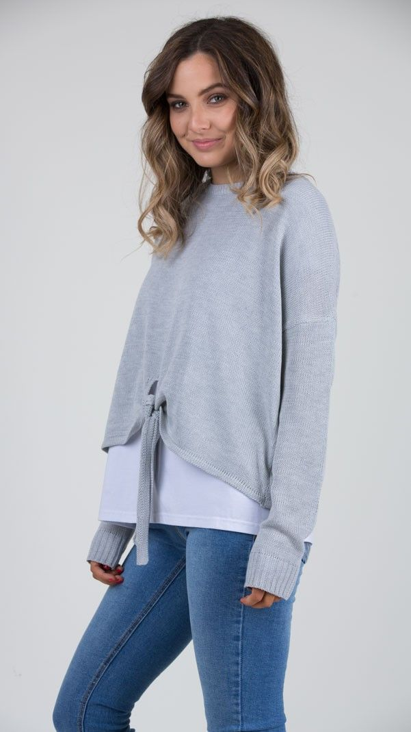 Sable Tie Front Knit   - Feather and Noise