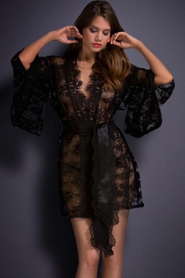 Vetements de Nuit en Kimono en Dentelle Noir Femme