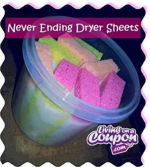 Never-ending dryer sheets: 1 Container with an airtight lid; 4 sponges cut in half; 1 cup of your favorite fabric softener; 2 cups water. Mix the water and fabric softener into a plastic container. Add the cut sponges so they can soak in the mixture. When ready to use, squeeze the excess liquid from 1 sponge and place into the dryer with your wet clothes. Run the dryer cycle as normal. Once complete place the now dry sponge back into the container of liquid for use next time.
