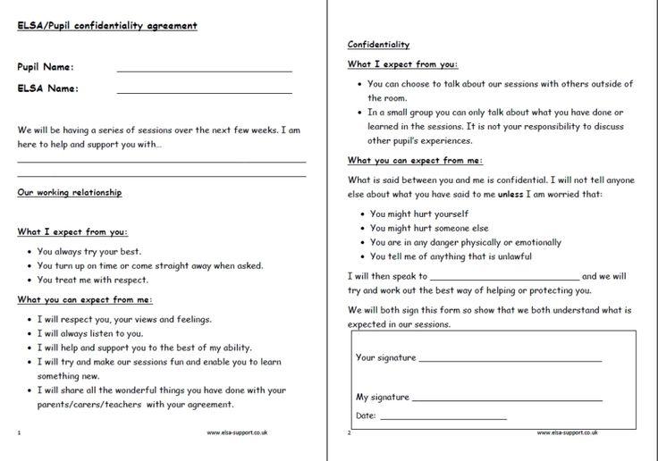 52 best ELSA images on Pinterest Preschool, Activities and - patient confidentiality agreements