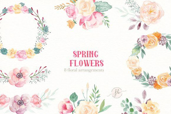 Spring Flowers Watercolor Set Spring Flowers Watercolor Flowers