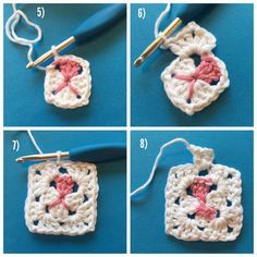 Part 2- Granny Square Cat (USA terns) #grannysquarecat  5) At this point, I wove in the 3 dangling ends, because there WILL be more! Just for fun, this time I used the two pink ends to go around the front and back again, to define the little mouth.  6) SS into the chain space, and then CH 2 more to be DC height. Make 2 more DC to finish off the cluster, CH2, then 3DC into the chain space. 7) finish the round with 3DC, CH2, 3DC into each corner. SS to the top loop at the beginning of the…