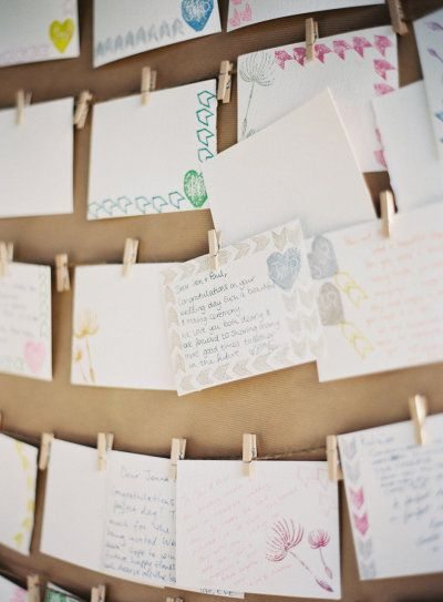 Notes written by the wedding guests