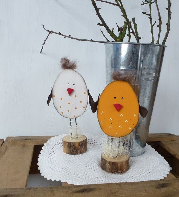 Cute wooden chickens as Easter decoration at DaWanda.de