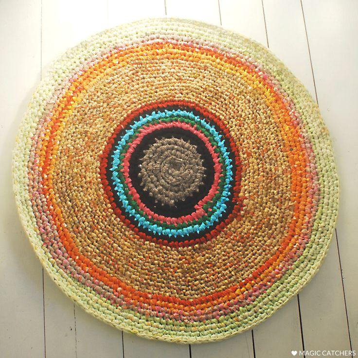 Handmade yellow crochet rug, eco rug, colorful round rug