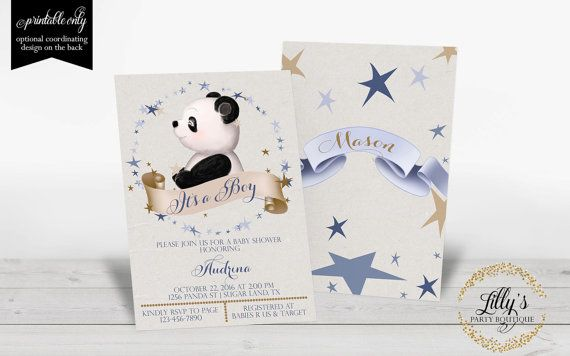 Panda Boy Baby Shower Invitation, Panda Baby Shower, Baby Panda Boy Baby Shower Invitation- YOU PRINT