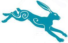 gazing hare | Moon gazing running hare car sticker | Hippy Motors car stickers vinyl ...