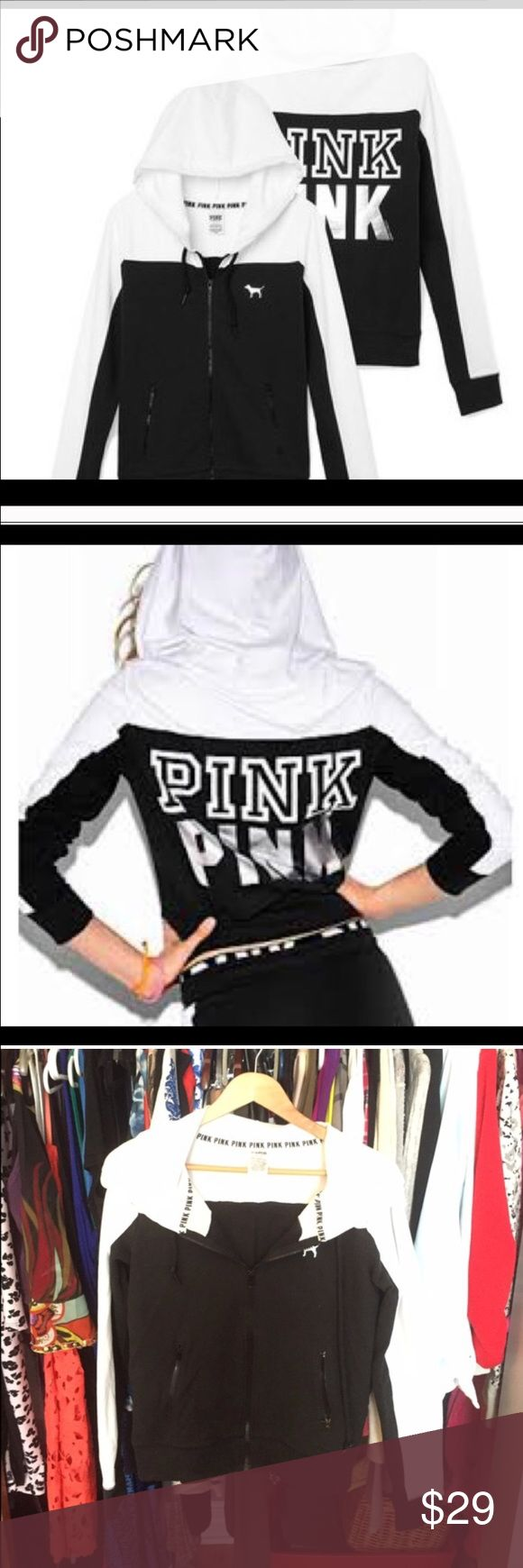 Full Zip Black and White Hoodie PINK VS Full zip hoodie in excellent condition. Thinner fabric, with a small amount of fleece inside the hood. PINK Victoria's Secret Tops Sweatshirts & Hoodies