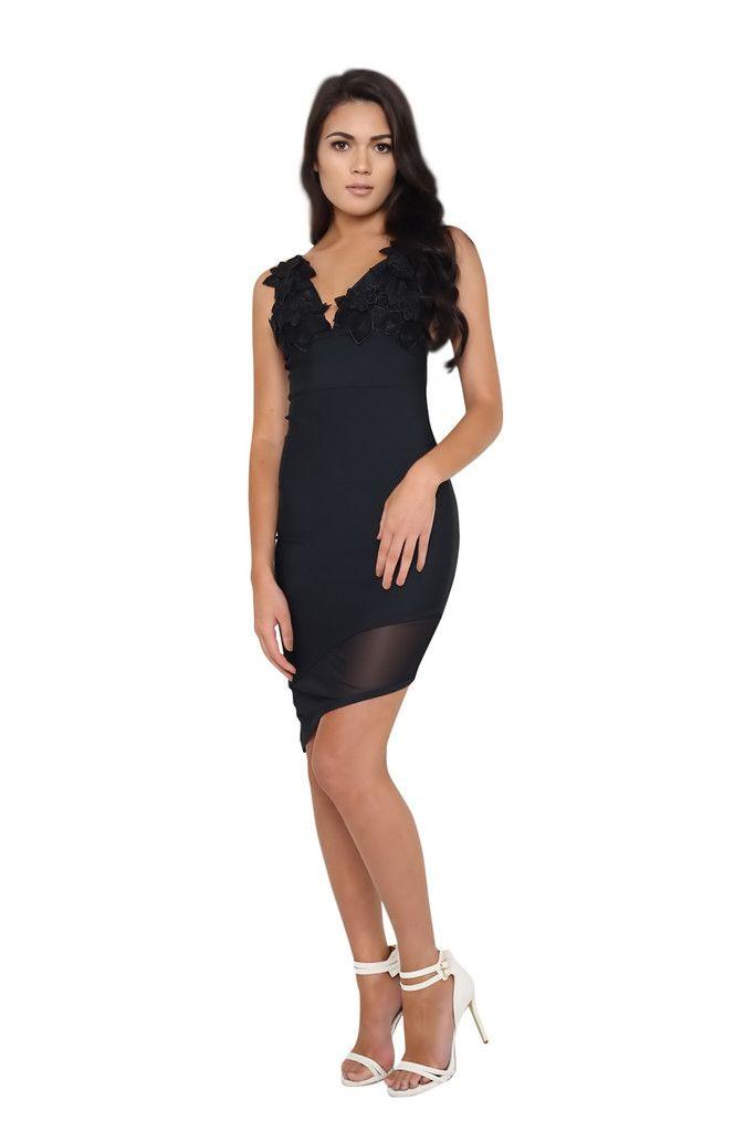 Lily Black Asymmetrical Bandage Dress