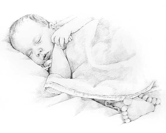 Малыш спит рисунок карандашом