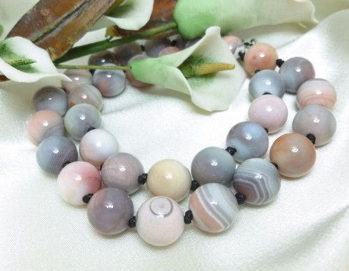 Pink Botswana Agate Gemstone Round Beaded Necklace