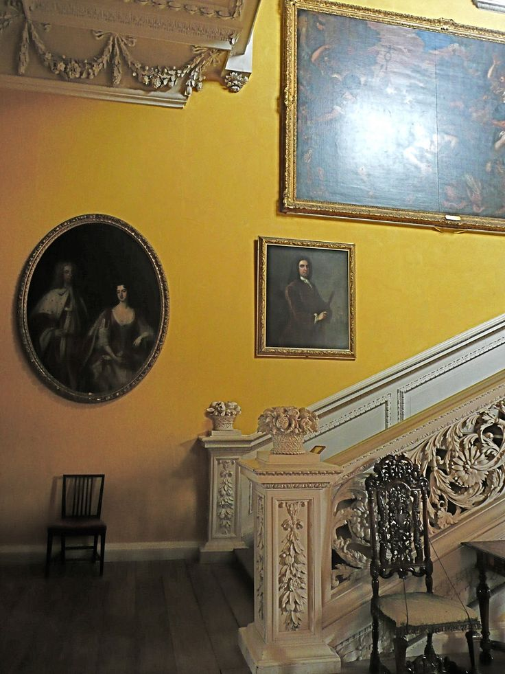 The staircase at Sudbury Hall - the origin of the colour Sudbury Yellow!