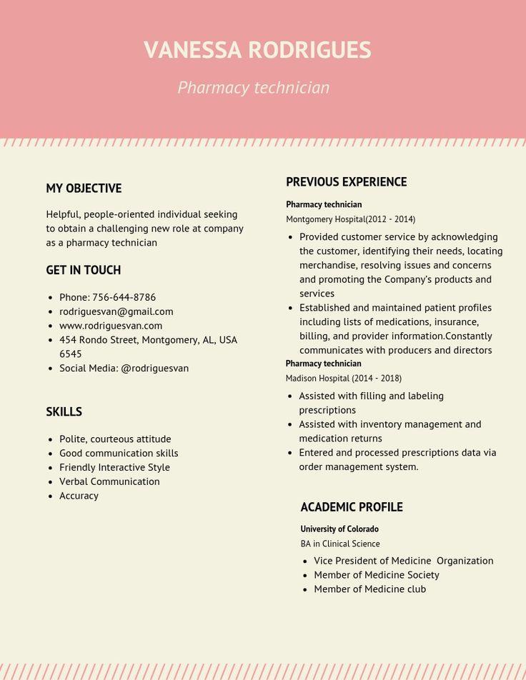 Pharmacy Technician Resume Samples & Templates [PDF+DOC