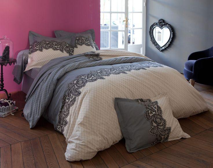 Linge de lit motif dentelle et résille | BECQUET