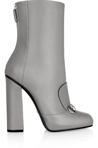 Horsebit-detailed leather ankle boots #shoes #covetme #gucci