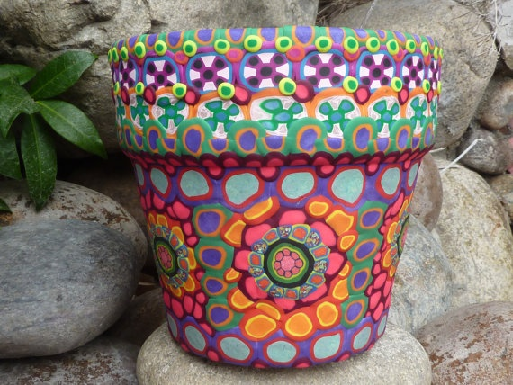Terracotta Ceramic Mosaic Planter with Floral by CrazieHappy, $60.00