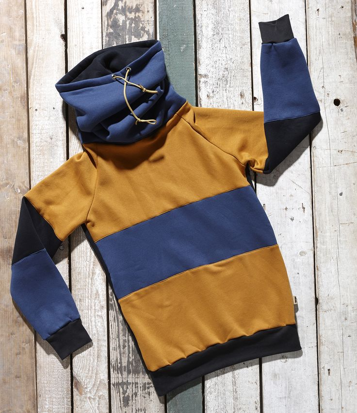 Orange, black and blue high neck pullover Piobino by Bosis