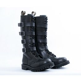 STEEL BOOT SHOP > 20 Eyelet 4 Buckles Steel Toe Cap Boots With Screw Sole