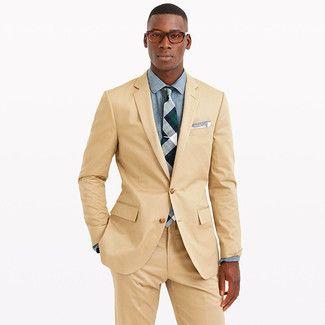 Cómo combinar un traje marrón claro en 2016 (51 | Moda para Hombres