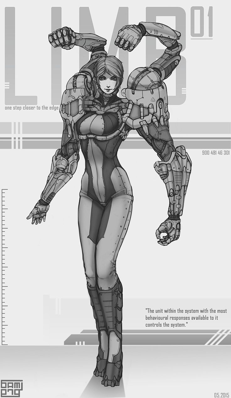 LIMB 01 by Brobossa female cyborg robot armor fighter soldier military armor player character npc movie comic book cover art cards poster packaging advertising marketing | Create your own roleplaying game material w/ RPG Bard: www.rpgbard.com | Writing inspiration for Dungeons and Dragons DND D&D Pathfinder PFRPG Warhammer 40k Star Wars Shadowrun Call of Cthulhu Lord of the Rings LoTR + d20 fantasy science fiction scifi horror design | Not Trusty Sword art: click artwork for source