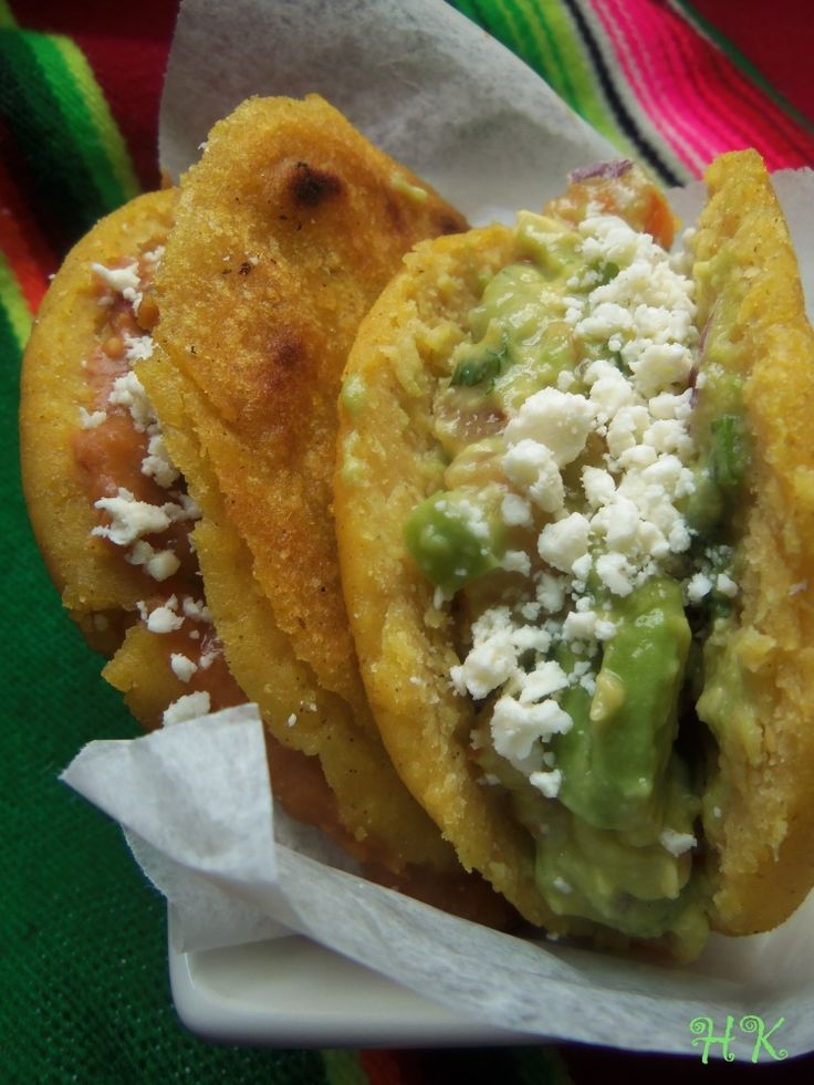 Gorditas filled with beans, gucamole and cotija cheese.
