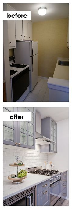 Glass-front, colored cabinets from IKEA, white subway tile and better use of counterspace open up a dark urban kitchen.