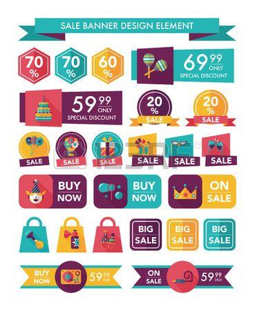 Birthday sale banner design flat background set #flat #design #banner #colorful #business