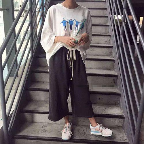 2016 Estilo Coreano Halajuku Carta Impresa Ocasional Floja Camiseta Femenina en Camisetas de Ropa y Accesorios de las mujeres en AliExpress.com   Alibaba Group