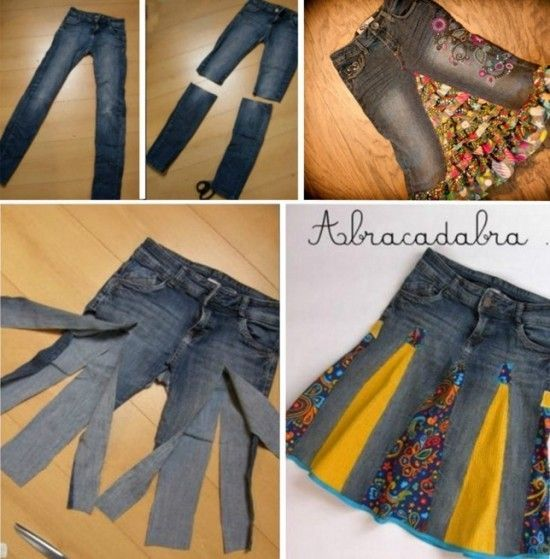 Denim Jeans Skirt Upcycle Read at : diyavdiy.blogspot.com