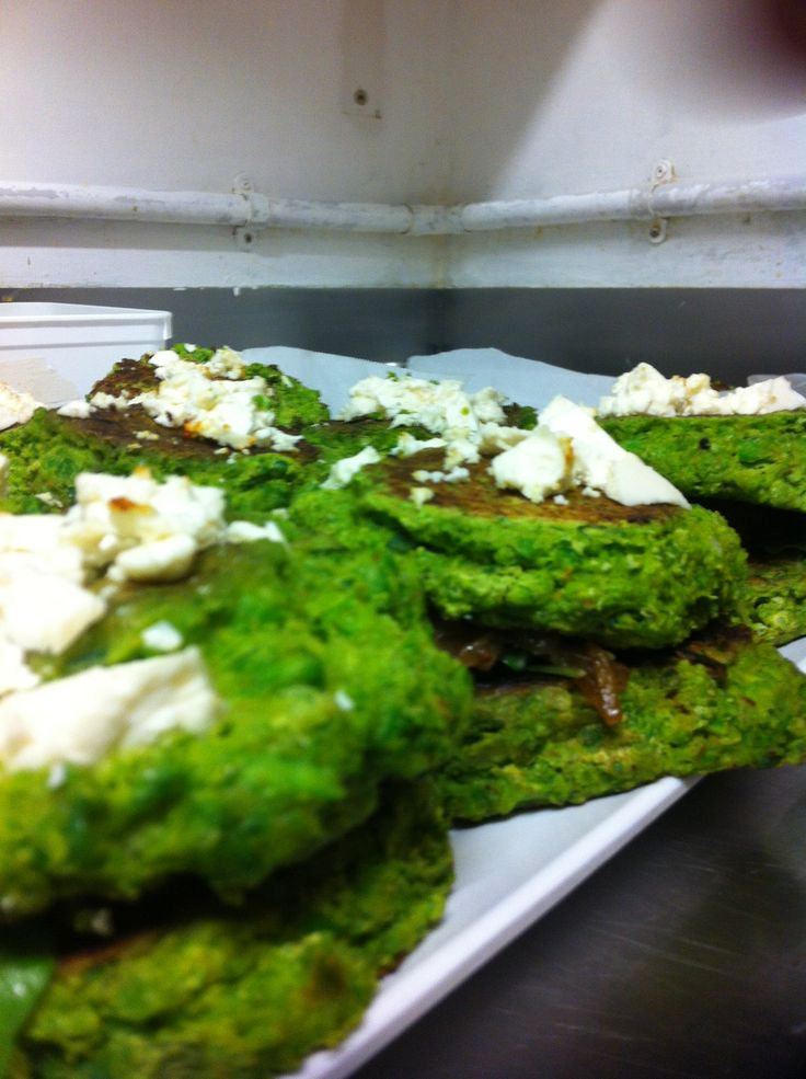 Pea, cumin and feta fritters! Yum!!