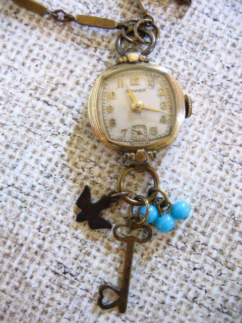 Vintage Watch Necklace w Bird Key n Bead Charms