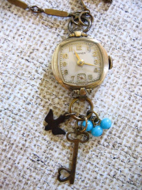 Vintage Watch Necklace w Bird Key n Bead Charms