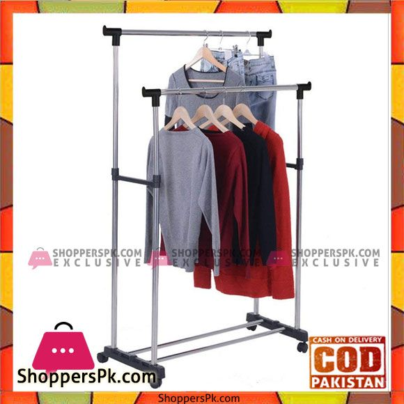 Buy Double Clothing Rod Telescopic Clothes Hanger Rack Black At