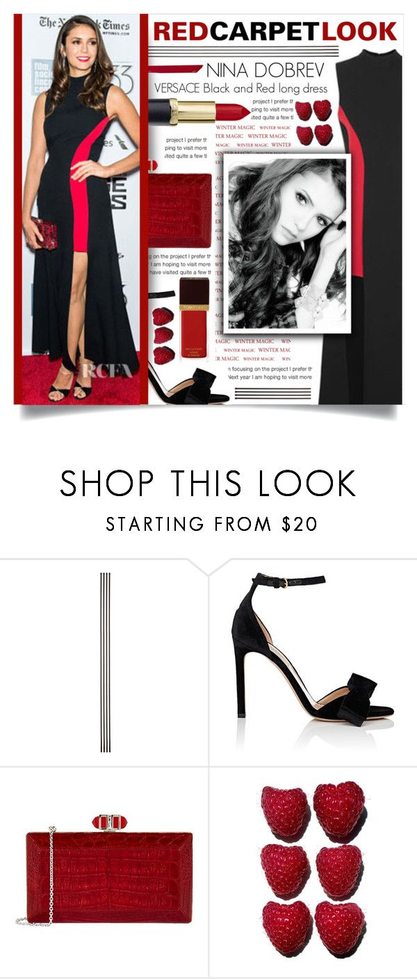 """NINA DOBREV RED CARPET"" by celine-diaz-1 ❤ liked on Polyvore featuring Improvements, Valentino, Versace, Judith Leiber and Tom Ford"
