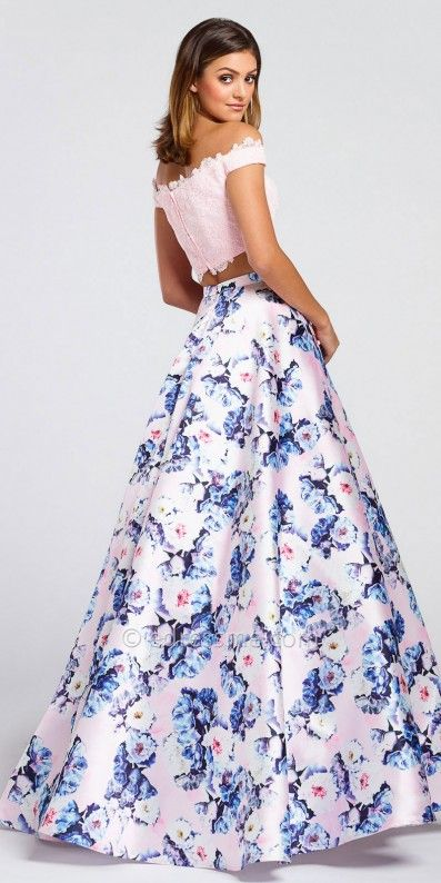 c23cb15dde0 Off The Shoulder Two Piece Floral Ball Gown by Ellie Wilde for Mon Cheri